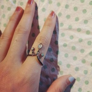 Tricolored boho silver ring